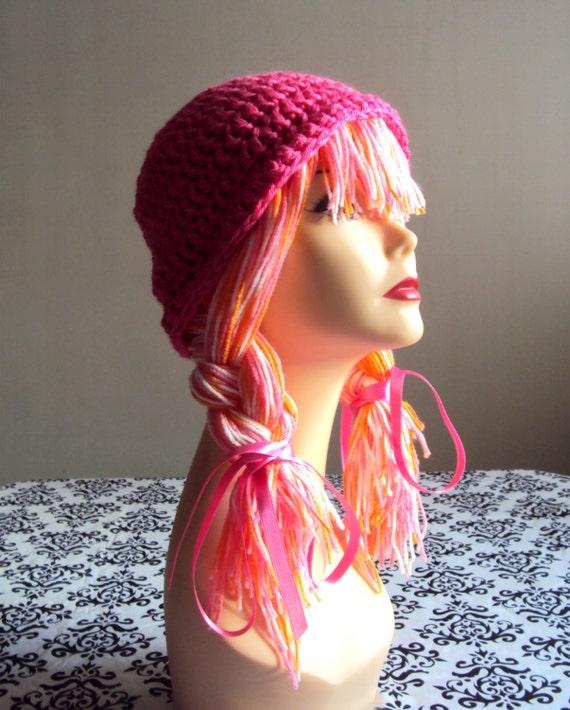 Yarn Wig Yarn Hat Crochet Funky Hat Wig Hat Dreadlock Hat