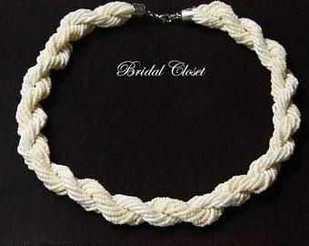 Bridal Necklace, Ivory Seed Bead Necklace, Bridal Necklace Pearl, Wedding Jewelry, Chunky Neklace