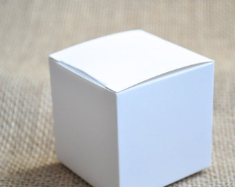 10 White wedding favor boxes, mini favor boxes,  small white favour boxes, wedding favour boxes, glossy white, 2x2 box gift box.  Set of 10