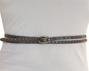 Double Wrap Leather Belt in Grey Size XS