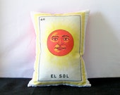 El Sol Vintage Mexican Loteria Pillow Cover circa 1920 - Mexican Traditional Art, Day of the Dead, Mexican Style Pillow