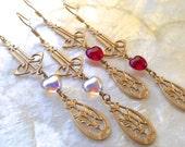 Art Nouveau Earrings Filigree Brass Dangle Hearts