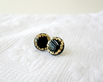 Black and gold leaf post earrings- Grecian themed jewelry- Elegant stud earrings- Delicate everyday jewelry