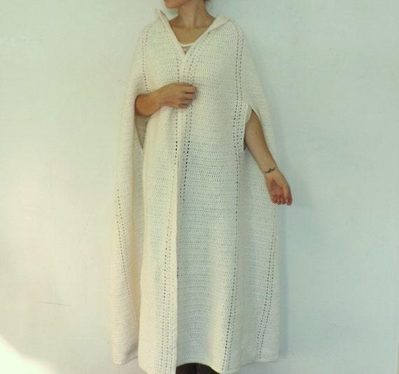 Vintage 1960s 70s white knit wool cape maxi sweater coat cloak capelet