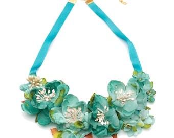 Spring Roses- Silk fabric flowers bib necklace- grosgrain ribbon Turquoise
