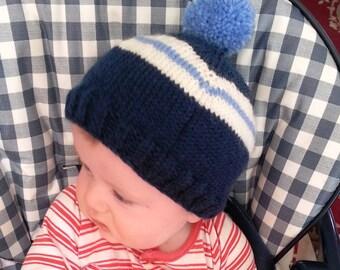 Baby boys blue hat stripes - baby boy hat - pom pom hat - blue and white baby beanie