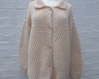 Cardigan vintage jacket chunky cardigan knit 80s cardigan womans chunky knitted 80s vintage clothing ladies acrylic wool cardigan handmade.