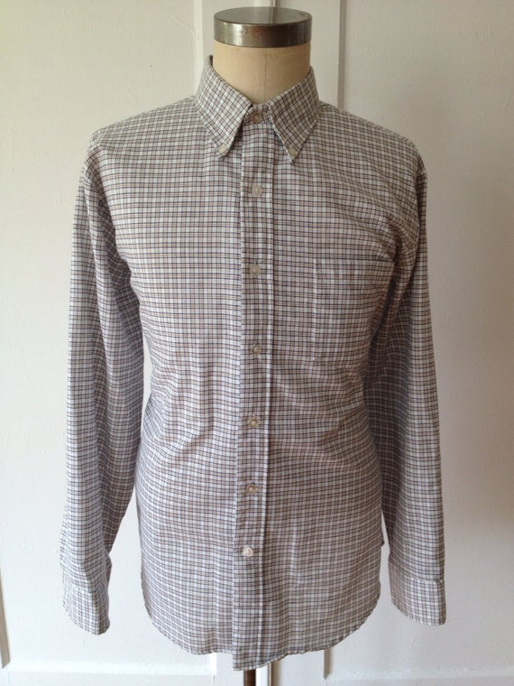 Vintage 60s 70s Checked Button Down Collar Preppy Shirt By