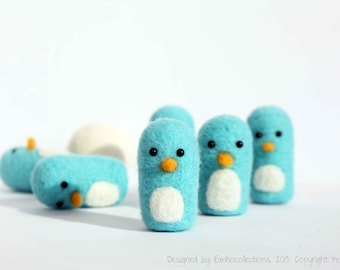 Bowling Penguins - Needle Felted Penguin Bowling Toy - Handmade Penguin Mini Game- Kids Toy - Christmas Gift - Ready To Ship
