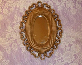 Mirror, Vintage Homco, Small Oval Mirror, Brown Faux Wicker Frame