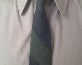 Vintage MENS Superba black & green diagonal striped skinny tie, circa 50-60s