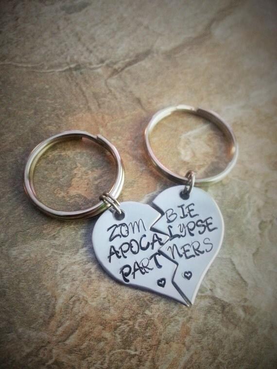 Best Friend Couples Hand Stamped Keychain Set Zombie Apocalypse