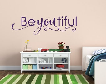Baby Girl Nursery Wall Decal Beautiful - Beyoutiful Wall Decal - Girls Nursery Decor - Vinyl Wall Decal - Vinyl Lettering