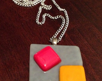 Grey Yellow Red Squares Fused Glass Pendant