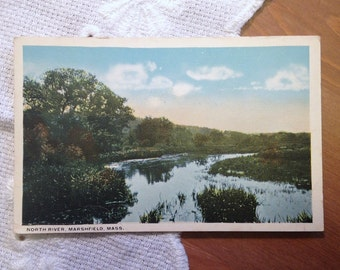 Vintage Postcard, North River, Marshfield, Massachusetts, 1930s Paper Ephemera