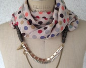Cream with Colored Polka Dot Satin Scarf with Gold and Brass Colored Chains and Faux Leather