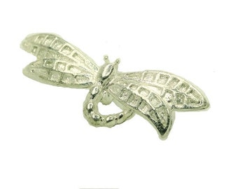 Silver Dragonfly Pendant, Jewelry Making, Cabochon