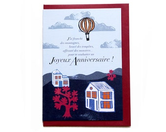 Birthday card - hot air balloon, with its envelope