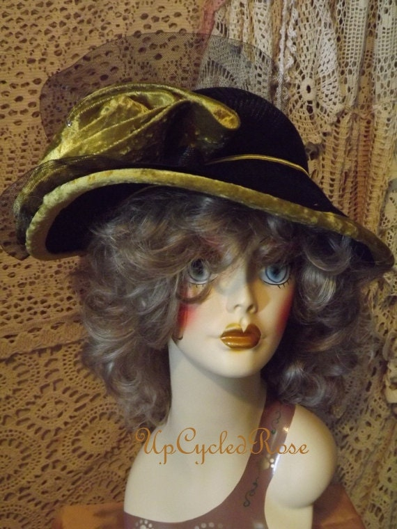 Vintage Derby Hat Paradise Fashion Bohemian Chic Black Felt with Gold Velvet Bow and Black Netting