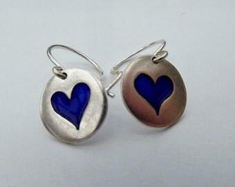 My Blue Heart Enamel Silver Earrings