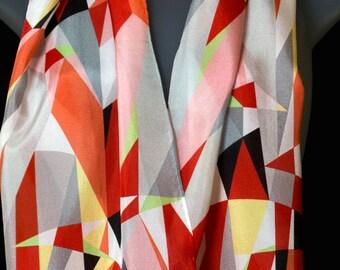 """Red Modern Women's Silk Scarf, 12"""" x 67"""", by Lorenz Hermsen."""
