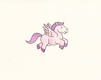 Original watercolour painting of a pink Pegasus !!