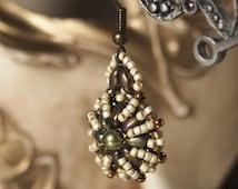 Colleen earrings beading pattern, super duo bead, vintage style earrings
