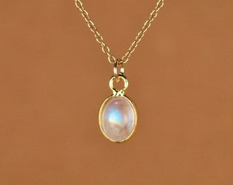 Moonstone necklace - gold moonstone - june birthstone - a fancy 22k gold lined tiny rainbow moonstone on a 14k gold vermeil chain