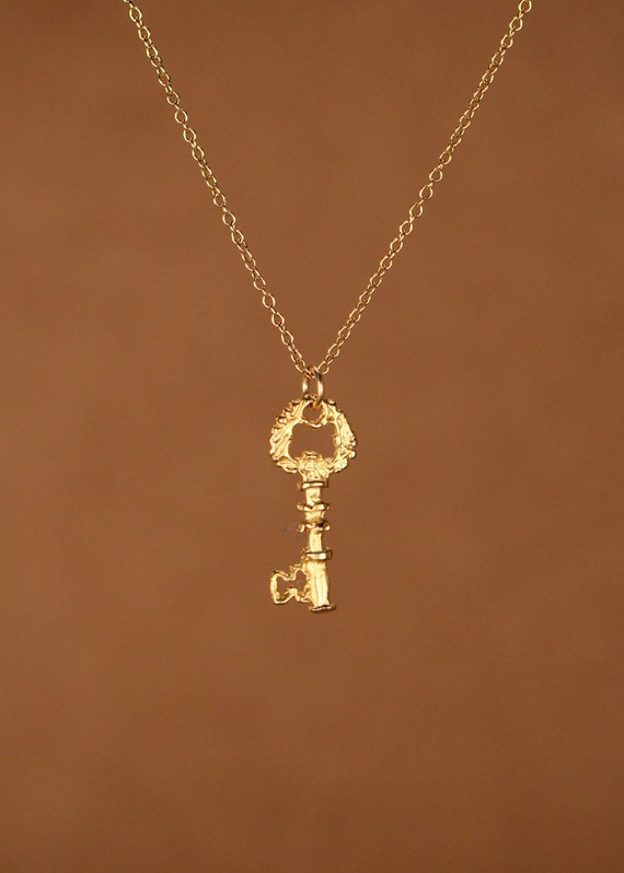 Key necklace - gold key necklace - a tiny 22k gold overlay skeleton key on a 14k gold filled chain