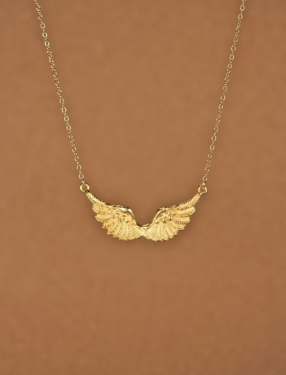 wing necklace guardian necklace gold wings