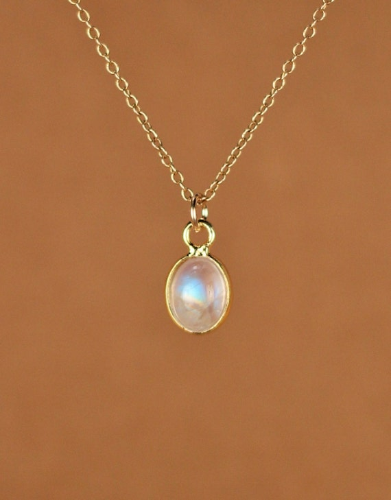 Moonstone necklace - gold moonstone - june birthstone - a gold bezel rainbow moonstone on a 14k gold vermeil chain