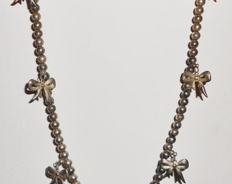 1970s necklace Vintage Bows necklace chains and balls silver plated KOREA