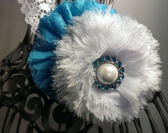Turquoise and white headband, turquoise hair flower, turquoise flower and white lace headband, soft headband, white lace headband