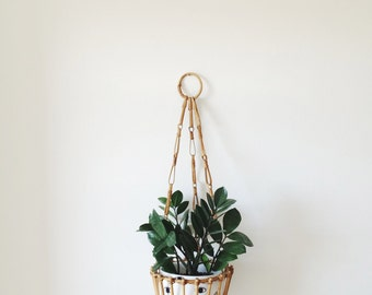 Vintage Wooden Hanging Plant Holder Mid Century Hanging