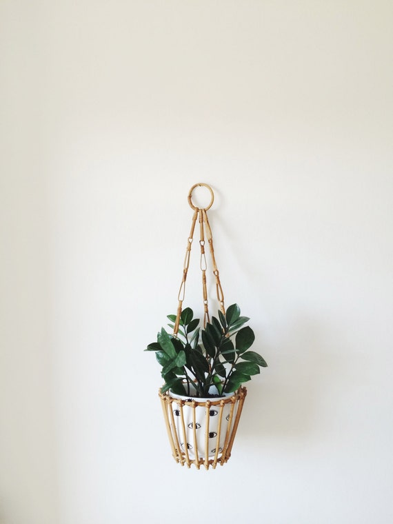 Vintage Wooden Hanging Plant Holder Mid By Ohcomelyvintage