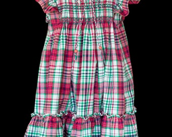 Hand-smocked cotton dress, age 4 to 5, red/green/white plaid