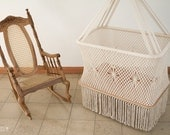 Gorgeous Hanging Cradle in Macrame BIG SIZE (with handmade mattress and sheets on request)