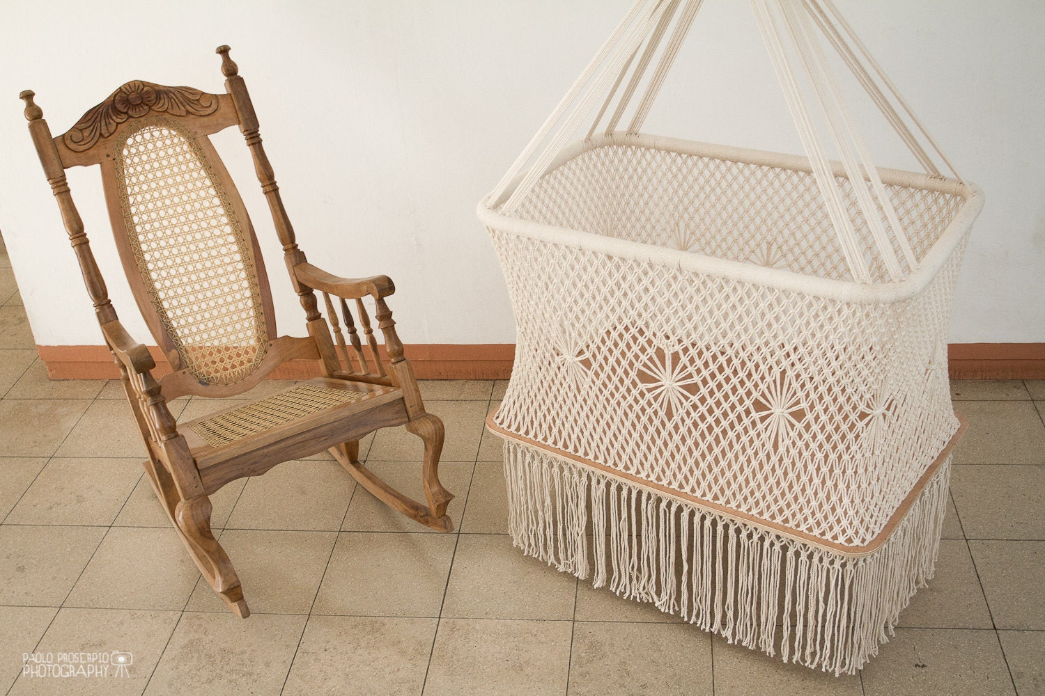 hanging swinging baby cradle in macrame rectangular shape