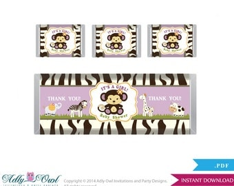 Girl Cocalo Jacana Chocolate Bar Wrapper and Nuggets Candy Wrapper Printable Label for Baby Girl Shower DIY Purple , Jungle - ao22bs1819
