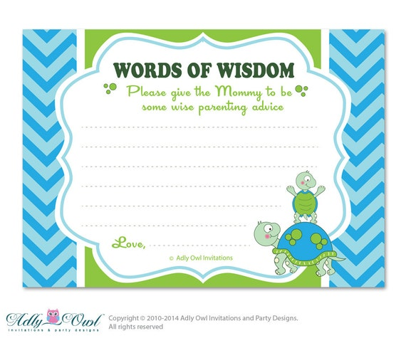green boy turtle words of wisdom advice card for baby shower