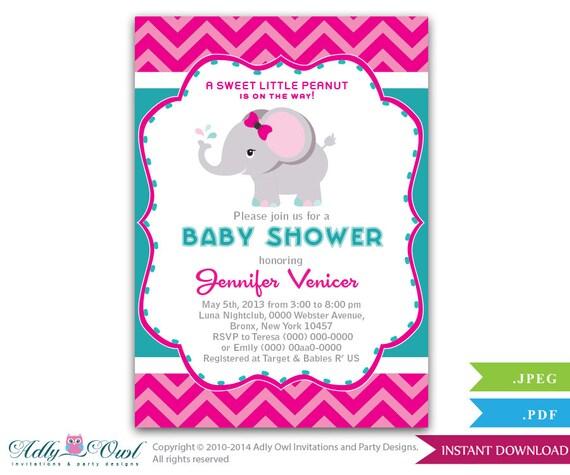 magenta turquoise girl elephant baby shower printable invitation for