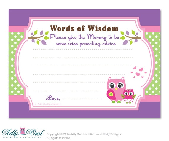 green purple girl owl words of wisdom advice card for baby shower