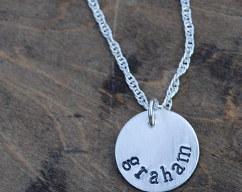 Sterling Name Necklace  .  Personalized Jewelry  .  Hand Stamped Mother Jewelry  .  Mothers Day Gift