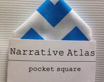 Pocket Square - Neon Blue Chevron - Neon Collection