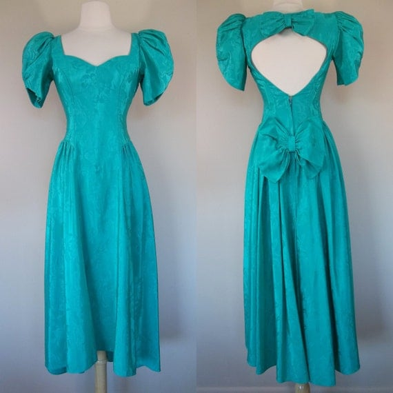 Vintage 80's Teal Long Prom Dress With Bows Small