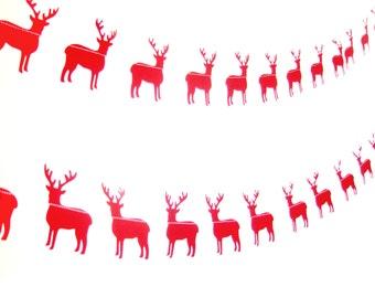 Red Christmas Reindeer Garland - Christmas Garland, Christmas bunting, home decor, paper bunting, Christmas garland, Christmas decor