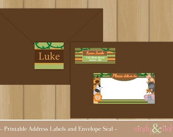 Personalized Jungle Address Labels and Envelope Seal Set - Safari Address Labels - Jungle Party, Safari Party - DIY Printable Digital File