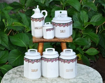 Kitchen Canister Set, Germany, Roses, Porcelain, Salt Box, Vinegar Bottle, sugar, coffee, six piece, #235