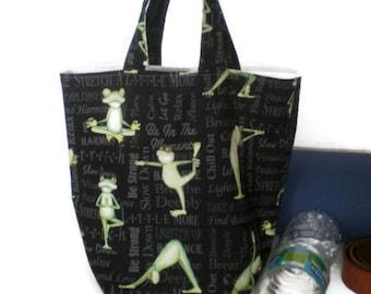 Frog tote bag, yoga tote bag, novelty tote bag, kids tote bag, gym tote bag, personal tote bag, sports tote bag, green tote bag, black tote