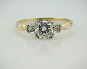 1940s Classic Diamond Engagement Ring, Pretty Two Tone Gold HUEFUP-D
